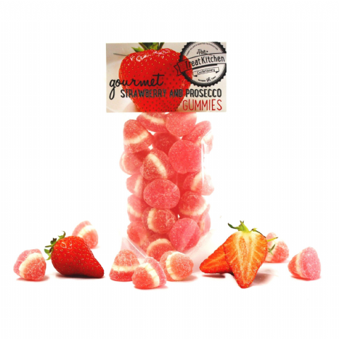 Strawberry & Prosecco Gummies Jelly Sweets Pouch - Gourmet Range The Treat Kitchen 200g